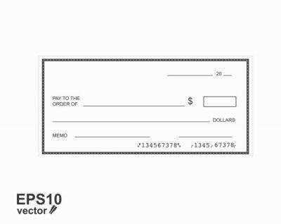 Fototapeta Blank template of the bank check.