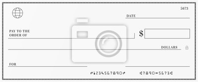 Fototapeta Blank template of the bank check. Checkbook cheque page with empty fields to fill.