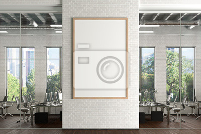 Fototapeta Blank vertical poster mock up on the white brick wall in office interior. 3d illustration