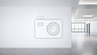 Fototapeta Blank wall in bright office mockup with large windows and sun passing through 3D rendering
