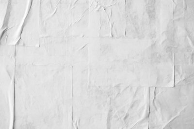 Fototapeta Blank white crumpled and creased paper poster texture
