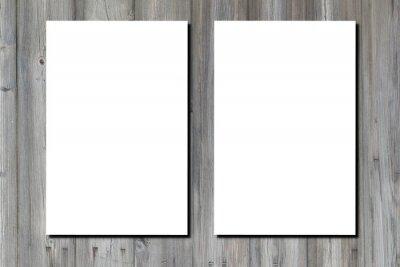 Fototapeta Blank white paper a4 sheet two page of brochure on wooden grey desk floor wall plank background
