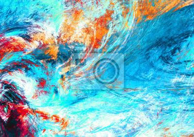 Błękitna fala morska. Artystyczne plamy jasnych farb. Streszczenie kolor tła tapety, wnętrze, album, okładka ulotki, plakat, broszura. Fraktalna grafika do kreatywnego projektowania graficznego