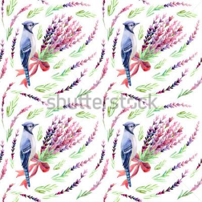 Fototapeta Błękitna sójka z lawendowym bezszwowym wzorem na białym tle. Ręcznie malowane akwarela ilustracja.