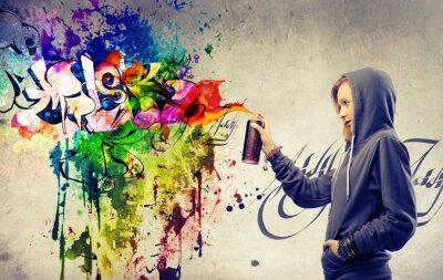 Fototapeta Blondynka podejmowania bardzo kolorowe graffiti