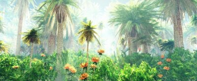 Fototapeta Blooming jungle in the fog, flowers among palm trees, palm trees in the fog