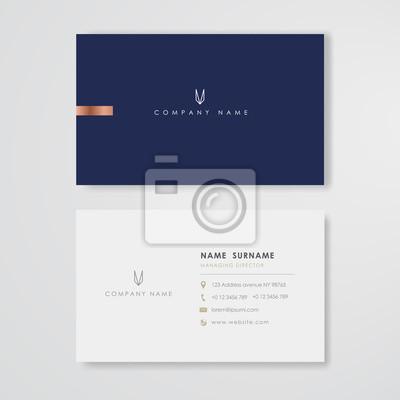 Fototapeta Blue business card flat design template vector