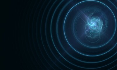 Fototapeta Blue electric charge, explosion or radiance with blazing plasma and rings of sound waves in dark space. 3d digital conceptual composition great as banner, backdrop, cover or element of design.