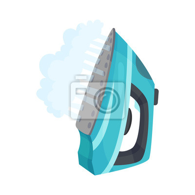 Fototapeta Blue iron with steam. Vector illustration on a white background.