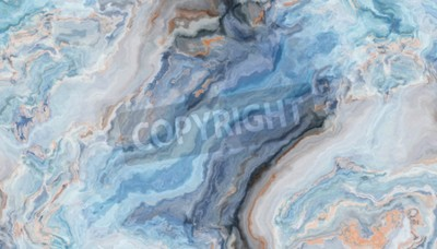 Fototapeta Blue marble pattern with curly grey and gold inclusions. Abstract texture and background. 2D illustration