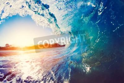 Fototapeta Blue Ocean Wave upaść na Sunrise