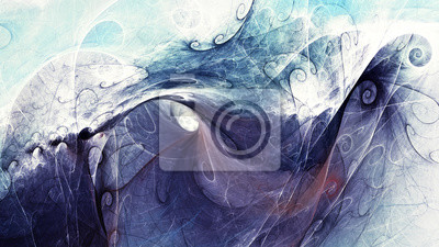 Blue sea wave. Abstract painting texture. Modern pattern. Color background. Fractal artwork for creative graphic design