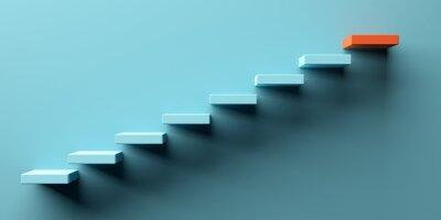 Fototapeta Blue stairs leading to orange top step, success, top level or career minimal modern concept