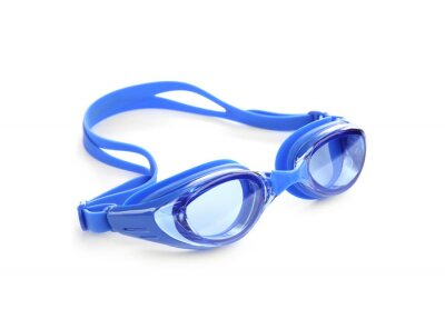 Fototapeta Blue swim goggles isolated on white. Beach object