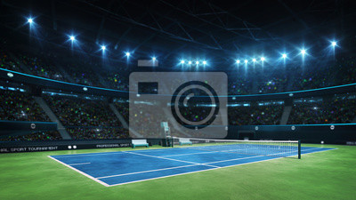 Fototapeta Blue tennis court and illuminated indoor arena with fans, court view, professional tennis sport 3d illustration background
