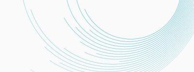 Fototapeta Blue white minimal round lines abstract futuristic tech background. Vector digital art banner design