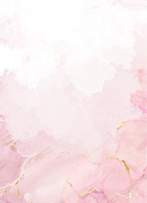 Fototapeta Blush pink watercolor fluid painting vector design card