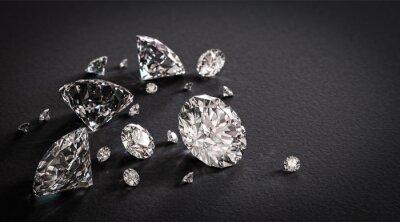 Fototapeta Błyszczące diamenty na czarnym tle