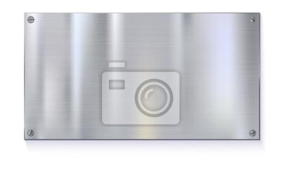 Fototapeta Błyszczące pędzlem płytki metalowej transparenty na białym tle Stal nierdzewna tle, ilustracji wektorowych dla Ciebie