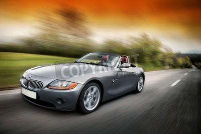 Fototapeta BMW Z4 E89is samochód sportowy z napędem rearwheel przez niemieckiego producenta samochodów BMW Man jazdy Z4 szybko na drodze krasowego w Słowenii UE