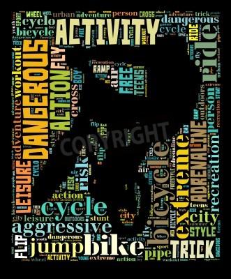 Fototapeta BMX info-text graphic and arrangement composed in BMX cyclist shape concept on black background  word cloud
