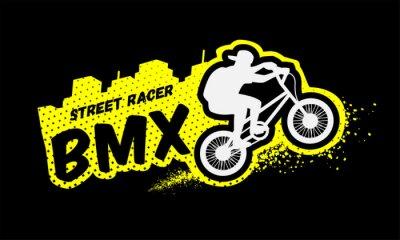 Fototapeta Bmx racer, godło w stylu grunge.