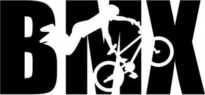 Fototapeta BMX słowo z sylwetką wycięciem