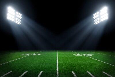 Fototapeta Boisko do piłki nożnej oświetlone przez światła stadionowych