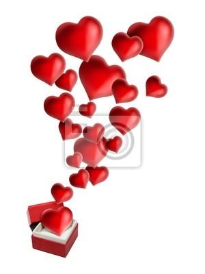 Boite Rouge Cadeau avec Coeur