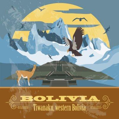 Fototapeta Boliwia punkty orientacyjne. Retro stylizowany wizerunek