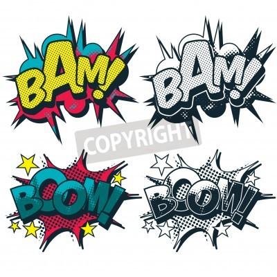 Fototapeta Boom Bam i grafiki ilustrują komiksu w stylu kreskówki