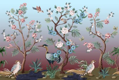 Fototapeta Border in chinoiserie style with herons, peacock and peonies. Vector.