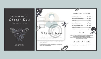 Fototapeta Botanical memorial and funeral invitation card template design, black paenia lactiflora flowers and fern on dark gray background