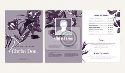 Fototapeta Botanical memorial and funeral invitation card template design, flowers and leaves, purple tone