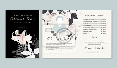 Fototapeta Botanical memorial and funeral invitation card template design, white lilies with black and white leaves on black background