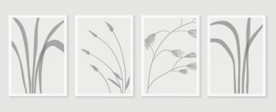 Fototapeta Botanical wall art vector set. Foliage line art drawing with abstract shape.  Abstract Plant Art design for print, cover, wallpaper, Minimal and  natural wall art. Vector illustration.