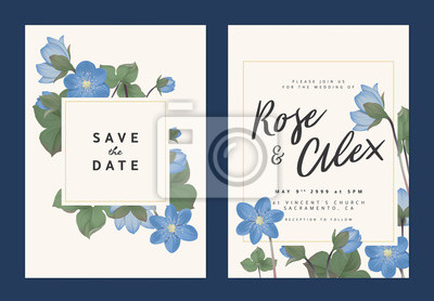 Botanical Wedding Invitation Card Template Design Blue Hepatica Fototapety Redro