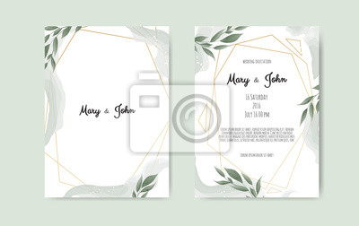 Botanical Wedding Invitation Card Template Design White And Fototapety Redro