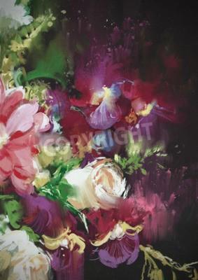 Fototapeta bouquet flowers on dark background in oil painting style,illustration