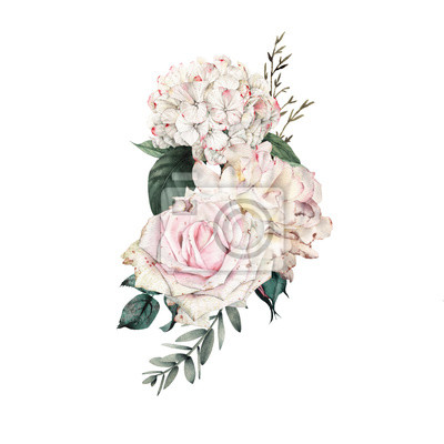 Bouquet of flowers, can be used as greeting card, invitation card for wedding, birthday and other holiday and  summer background. Watercolor