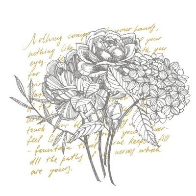 Fototapeta Bouquet. Spring Flowers and twigs. Peonies, Hydrangea, Rose. Vintage botanical illustration. Black and white set of drawing cornflowers, floral elements, hand drawn botanical illustration. Handwritten