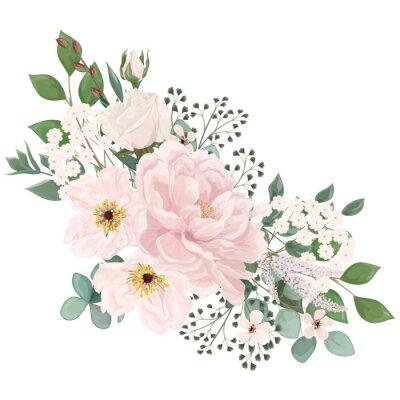 Fototapeta Bouquet with  flowers, watercolor. Vector illustration. EPS 10