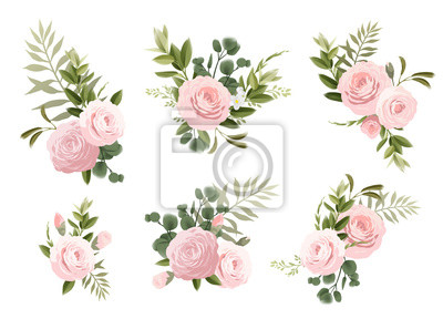 Bouquets of flowers, can be used as greeting card, invitation card for wedding, birthday and other holiday and  summer background. Vecto art.