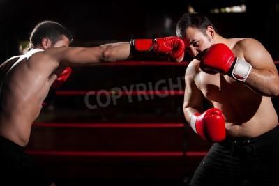 Fototapeta Boxer korzystania z niektórych szturcha uderzyć przeciwnika i wygrać mecz okno