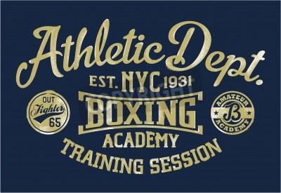Fototapeta Boxing academy - Vintage artwork for sportswear in custom colors