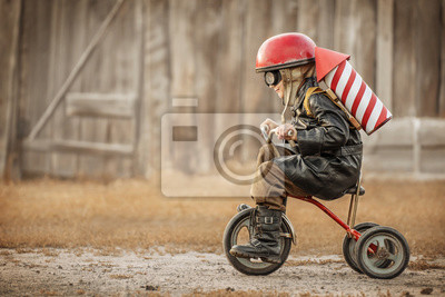 Fototapeta Boy play in the rider and the rocketman