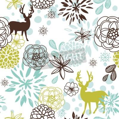 Fototapeta Boże Narodzenie bez szwu z kwiatów i ptaków, jeleni