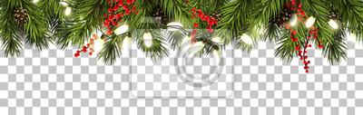 Fototapeta Boże Narodzenie granicy z gałęzi jodłowych i szyszki