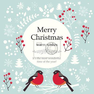 Fototapeta Boże Narodzenie ilustracji wektorowych. Kartkę z życzeniami na wakacje