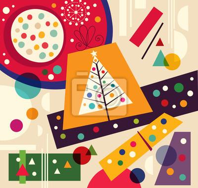 Fototapeta Boże Narodzenie ilustracji wektorowych z choinki i prezenty